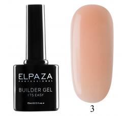 Гель для наращивания с кисточкой Elpaza Builder Gel it's easy № 03 15 МЛ нежно - розовый