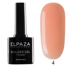 Гель для наращивания с кисточкой Elpaza Builder Gel it's easy № 04 15 МЛ персиково - розовый