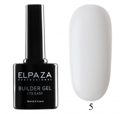 Гель для наращивания с кисточкой Elpaza Builder Gel it's easy № 05 15 мл молочный -  белый
