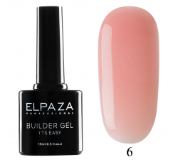 Гель для наращивания с кисточкой Elpaza Builder Gel it's easy № 06 15 МЛ  розовый