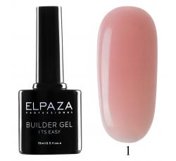 Гель для наращивания с кисточкой Elpaza Builder Gel it's easy № 01 15 МЛ розовый
