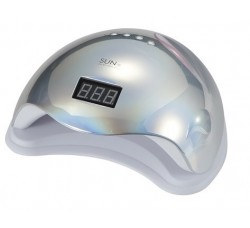 Лампа Sun5 48 Вт гибридная для гель лака и геля UV/LED  с ЖК дисплеем cеребро зеркальная Mirror Silver