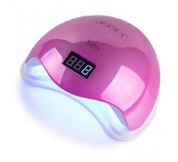 Лампа для гель лака и геля гибридная UV/LED Sun5 48 Вт с ЖК дисплеем Зеркально Розовая Mirror Pink