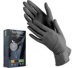 Перчатки Benovy нитриловые неопудренные размер XS черные 100 шт