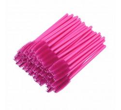 Одноразовая щеточка для ресниц и бровей щеточки темно розовые 50шт
